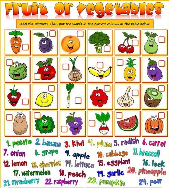 упражнение про фрукты и овощи в английском